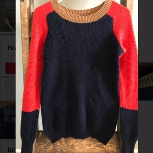 J Crew 100% Cashmere Sweater Color Block Navy